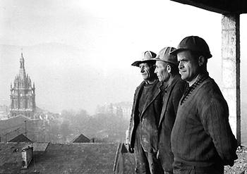 Una imagen tomada durante la construcción del edificio